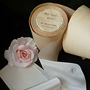 Vintage French off white wide rayon ribbon : unused still on it's original shop packaging : 2 YARD LENGTH : doll projects