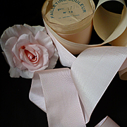 Vintage French soft pink rayon  ribbon : unused still on shop packaging roll : doll's projects