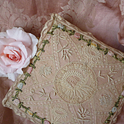 Delicious old handmade French  lace and ribbon work boudoir box