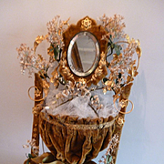 Rare French faded grandeur gold velvet : ormolu boudoir wedding stand : flowers : ribbon bow