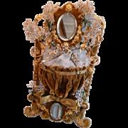 Rare French faded grandeur gold velvet : ormolu boudoir wedding stand : flowers : ribbon bow