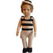 Adorable signed Lenci cloth boy doll : original felt clothing : 17 inches : circa 1920-30