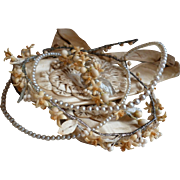 Delicious French bride's faux pearl : wax wedding crown : tiara : corsage : silver metallic leaves