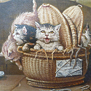 Amusing antique French signed oil on canvas painting : kittens playing in a basket