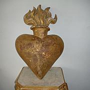 Enormous  antique French faded grandeur gilt wood flaming sacred heart : coeur de Marie