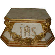 Decorative antique French religious gilded wooden display stand : floral swag : angels : IHS