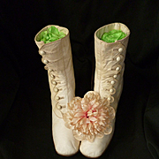 Pretty pair antique French young girl's : ladies cream kid leather button boots