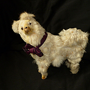 Scruffy real fur covered old dog candy container or box : perfect fashion doll companion