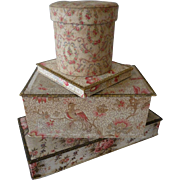 Delicious batch 4 faded grandeur vintage French fabric boudoir boxes : pink tones