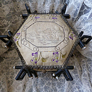 Decorative 19th C French ebonized bamboo box : hand embroidered floral motifs : swans : violets