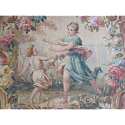 Decorative antique French hand painted tapestry pattern carton : cartoon painting : classical scene