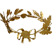 Rare French gleaming gilt metal oak & laurel leaf award crown : full size : ribbon bow