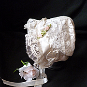 Pretty vintage French hand made small doll's lace bonnet : ribbon work rose bud embellishment