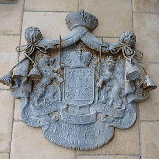 Rare antique German coat of arms : Hohenlohe family : moto ex flammis orior : crowns