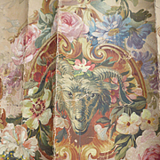 Decorative 19th C. French hand painted tapestry pattern : rams head : floral garlands : torch and Quiver motifs