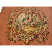 Decorative antique French hand painted tapestry pattern : cock and hen birds : grapes : vine leaves