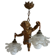 Angelic French Faded grandeur patinated spelter antique winged cherub boudoir ceiling light