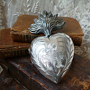 Imposing large antique French ex voto silver flaming sacred heart : 5 1/4 inches high : dated 1904