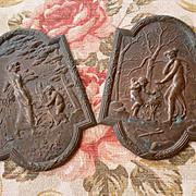 Decorative pair French mounts: embellishments : classical style : cherubs : circa 1900