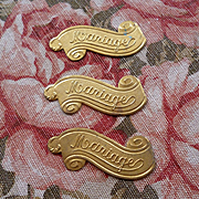 3 decorative  French pressed gilt metal banner embellishments : Mariage : projects
