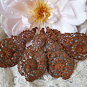 4 decorative French pressed metal embellishment , circa 1900