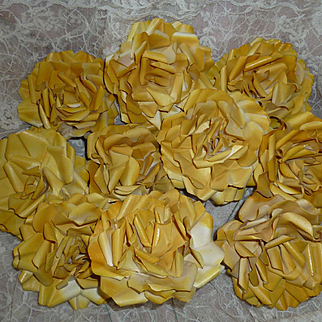 Delicious batch old French hand made sunny yellow painted paper rose blooms : old stock