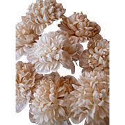 Faded grandeur batch ivory colored waxed paper crysanthemums artificial flowers : old stock: hand made
