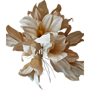 Bouquet faded grandeur French hand made waxed paper ivory colored lilies : old stock