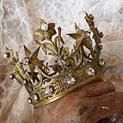 Faded grandeur French Madonna religious crown : paste stones : faux pearls : star : lily motifs