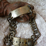 Splendid vintage French large metal dog collar