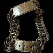 Splendid vintage French large metal dog collar