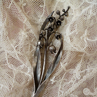 Delightful French silver Art Nouveau lily of the valley brooch