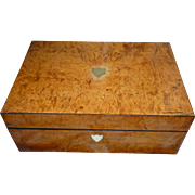 Pretty 19th C. French wooden veneer sewing : trinket : jewelry box : brass shield decoration