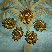 Batch 19th C. French repousse gilt metal lion head hook cover embellishments