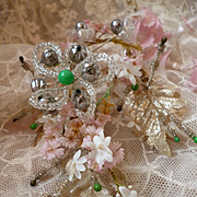 Decorative 19th C. French  wedding bouquet  silver metallic leaves wire  : beads artificial flowers