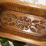 Decorative old French hand carved wooden butter mold : floral & foliage motifs