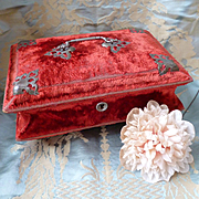 Musical antique French  red velvet boudoir trinket : sewing :  jewelry box