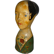 Decorative 19th C. French young lady head mannequin : hand painted