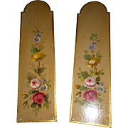 Faded grandeur vintage French hand painted metal door plates : rose floral blooms foliage motifs ( no. 2 )