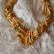 Elegant vintage French Christian Lacroix gilt metal necklace