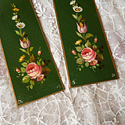 Delicious vintage French metal door plates : hand painted rose floral and foliage motifs ( no. 1 )
