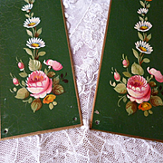 Delicious vintage French metal door plates : hand painted rose floral and foliage motifs ( no. 2 )