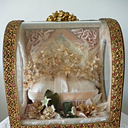 Delicious antique French pink wedding box : casket : bride's wax crown