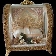 Delicious antique French pink wedding box : casket : bride's wax crown