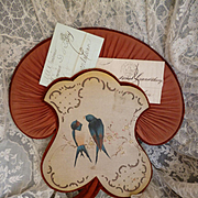 French boudoir postcard or letter holder : wall pocket : swallow blossom  motifs : circa 1880 -1900