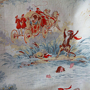 "Charming old French childrens cotton  "" Puss in Boots "" fabric : Toile Malmaison : + 8 yards"