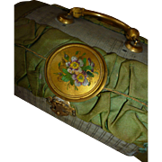 Faded grandeur antique French small bag : hand painted floral  medallions : doll accessory