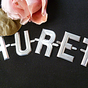 "Vintage French aluminium letters  "" HURET "" for doll projects"