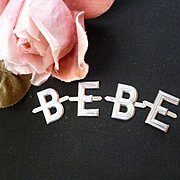 Vintage French aluminium letters : BEBE : old shop stock