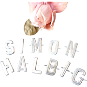 Vintage French aluminium letters : SIMON HALBIG : old shop stock : doll projects